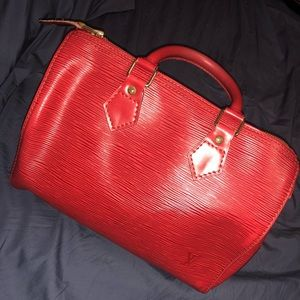 Vintage Loui Speedy 30 in Red Epi Leather